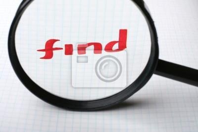 Red Wort zu finden auf dem Papier. Hand schreiben Schriftart und Internet-Konzept