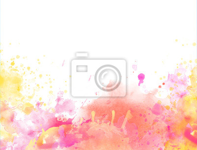 Fototapete Red Yellow watercolor splash backround border isolated on white