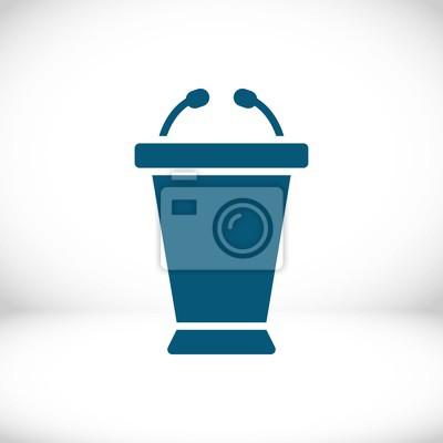 Rednerpult mit mikrofon-symbol stock vektor-illustration flachen ...