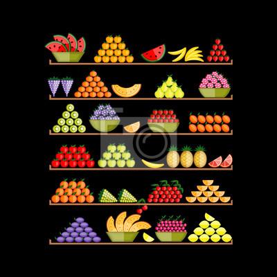 Regale mit Obst für Ihr Design