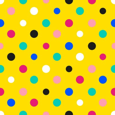 Fototapete Regenbogen Bunte Polka dot Gelber Hintergrund Vektor-Illustration