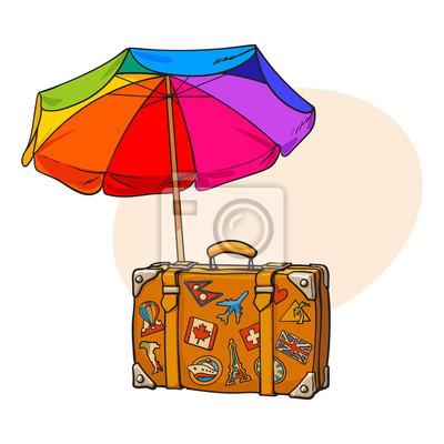 Regenbogen Farbigen Offenen Sonnenschirm Und Reisekoffer Mit