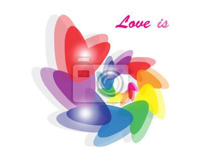 Regenbogen Herzen Vektor-Illustration auf weißem Hintergrund