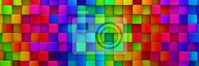 Fototapete Regenbogen von bunten Blöcke abstrakten Hintergrund - 3d render