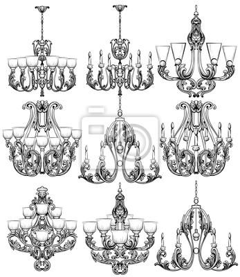 Fototapete Reiches Barock Klassisches Kronleuchterset. Luxus Dekor Zubehör  Design. Vektor Illustration Skizze
