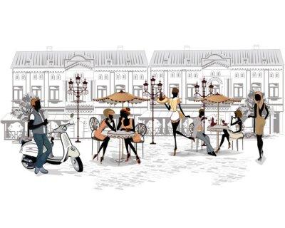 Fototapete Reihe von den Straßen mit Menschen und Musiker in der Altstadt
