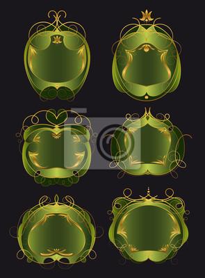 Reihe von grünen und goldenen Rahmen