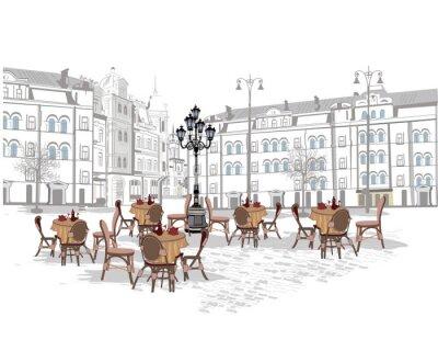 Fototapete Reihe von Hintergründen mit Blick auf die Altstadt und Straßencafés. Hand gezeichnet Vektor-Illustration.