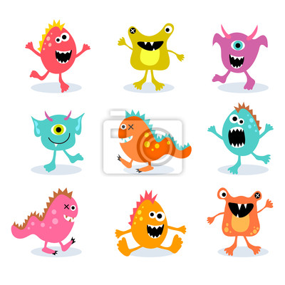 Reihe von niedlichen kleinen Monster