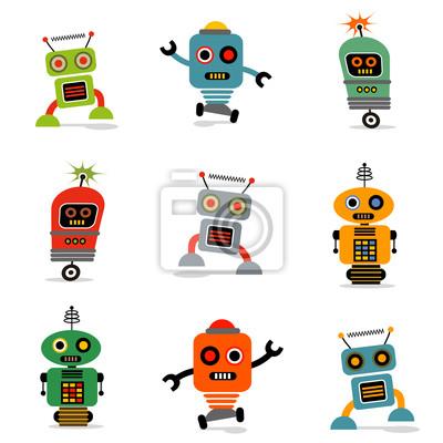 Reihe von niedlichen Vektor Retro Roboter