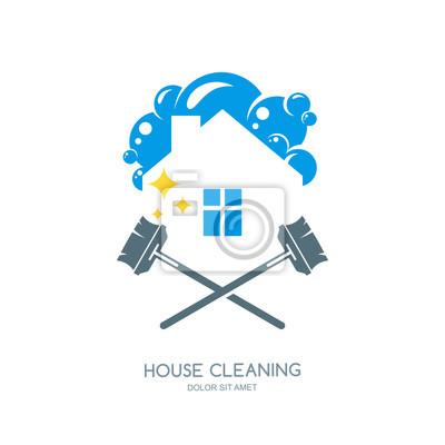 Reinigung-service vektor-logo, emblem oder ikone design-vorlage ...