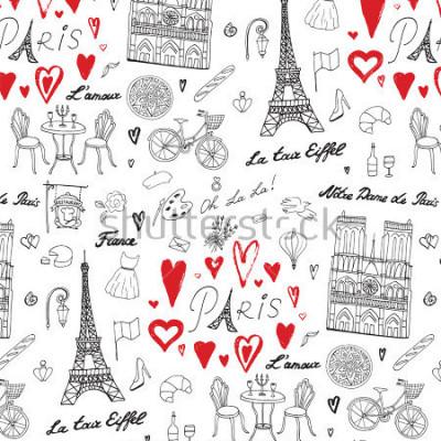 Fototapete Reisen Sie Paris Vektor Linienmuster