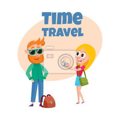 Fototapete Reisen Zeit Poster, Banner, Postkarte Design Mit Touristischen  Paar, Cartoon Vektor