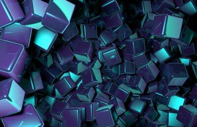 Fototapete Rendered 3D Cubes zufällig im Weltraum, Dark Blue Cubes verteilt