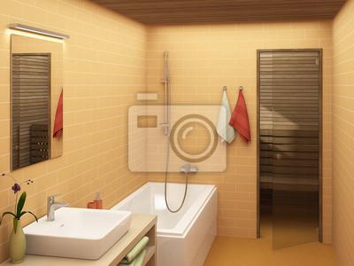 Rendering eines modernen badezimmer in warmen farben ...