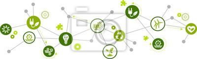 Fototapete renewable / alternative energy icon concept – green electricity sources icons – vector illustration