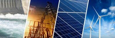 Fototapete Renewable Energy concept, collage banner
