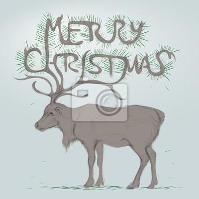 Rentier mit geweih wie weihnachtsbaum fototapete • fototapeten ...
