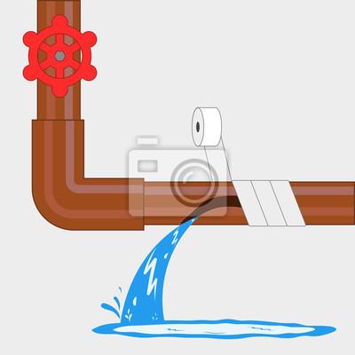Reparieren Sie Das Rohr Mit Klebeband Fototapete Fototapeten