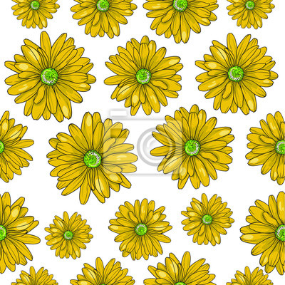 Repeat Pattern With Many Yellow Flowers Illustration Isolated