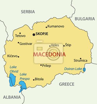Mazedonien Karte.Fototapete Republik Mazedonien Vektor Karte