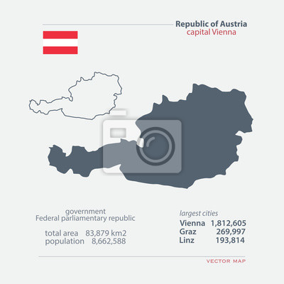 Republik österreich isoliert karten und offizielle flagge-symbol ...
