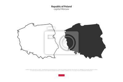 Polen Karte Umriss.Fototapete Republik Polen Isoliert Karte Und Offizielle Flagge Symbole