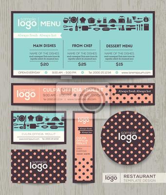Patte Design   Restaurant Cafe Menu Design Template With Pastel Polka Dot Patte