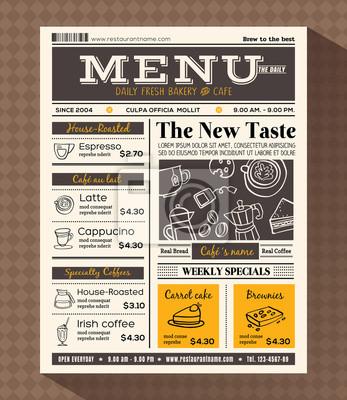 Restaurant-café-menü design-vorlage fototapete • fototapeten ...