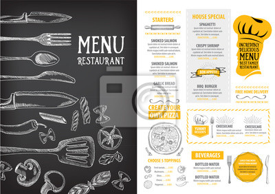 Fototapete Restaurant Cafe Menu Template Design Food Flyer