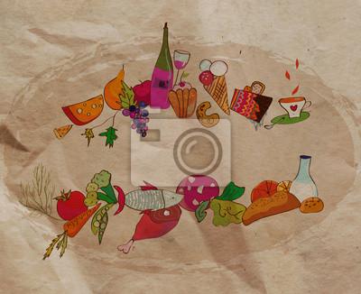 Restaurant Hintergrund mit Essen auf dem Papier Textur