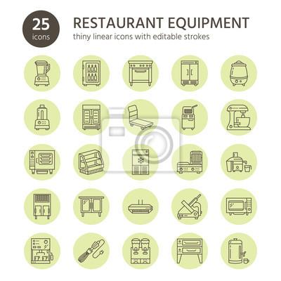 Restaurant Professionelle Ausrustung Linie Symbole Kuchengerate