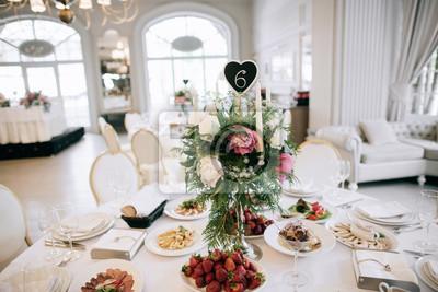 Restaurant Tisch Mit Essen Catering Service Hochzeitsfeier
