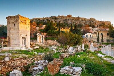 Fototapete Reste der römischen Agora und Akropolis in Athen, Griechenland.