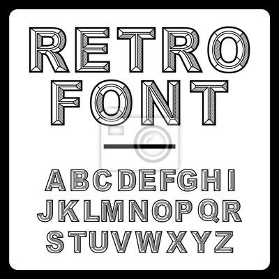 Retro Alphabet Schriftart Vektor