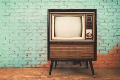 Fototapete Retro alten Fernseher in Vintage Wall Pastell Farbe Hintergrund