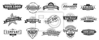 Fototapete Retro badge. Old emblem, logo frame and vintage silhouette badges hipster design vector set