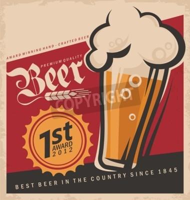 Fototapete Retro Bier-Vektor-Poster