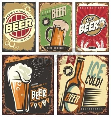 Fototapete Retro-Bier Vektor Zeichen gesetzt
