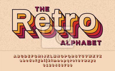 Fototapete Retro Font 90, 80er Jahre. Mit VHS-Effekt, Vector ABC-Alphabet