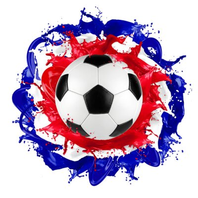 Fototapete Retro Fußball französische Flagge Farbe splash