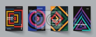 Fototapete Retro geometric covers design. Swiss modernism. Eps10 vector.