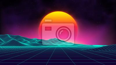 Fototapete Retro-Hintergrund futuristische Landschaft 1980er Jahre Stil. Digitale Retro-Landschaft Cyber-Oberfläche. Retro Musik Album Cover Vorlage: Sonne, Raum, Berge. 80er Jahre Retro Sci-Fi Hintergrund Somme