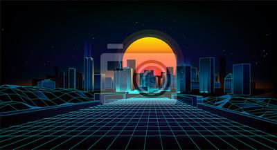 Fototapete Retro Hintergrund Landschaft 1980er Jahre Stil. Retro- Hintergrund der Sci-Fi 80 Stadt Landschaft Retro- Welle des futuristischen Hintergrundes.