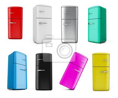 Retro Kühlschrank Klein : Retro kühlschrank isoliert auf weiß bacground d render gesetzt