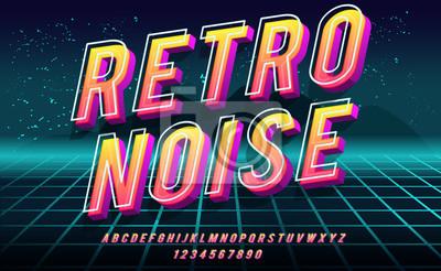 Fototapete Retro Noise. 3D bold font in 1980s style. Illustration of 1980 retro neon poster. Futuristic landscape.