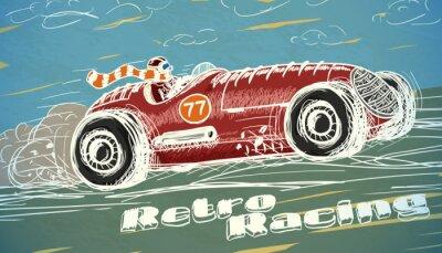 Fototapete Retro-Rennwagen Poster