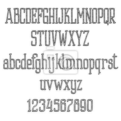Retro Schriftart-Alphabet und Zahlen im Skizzeart