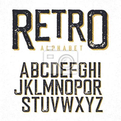 Retro Schriftbild. Stamped Alphabet, beschattet. Isoliert auf weißem Hintergrund