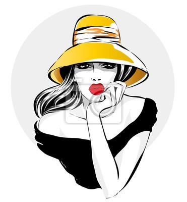 Retro Schwarz Weiss Mode Frau Portrat Schone Madchen Gelben Hut